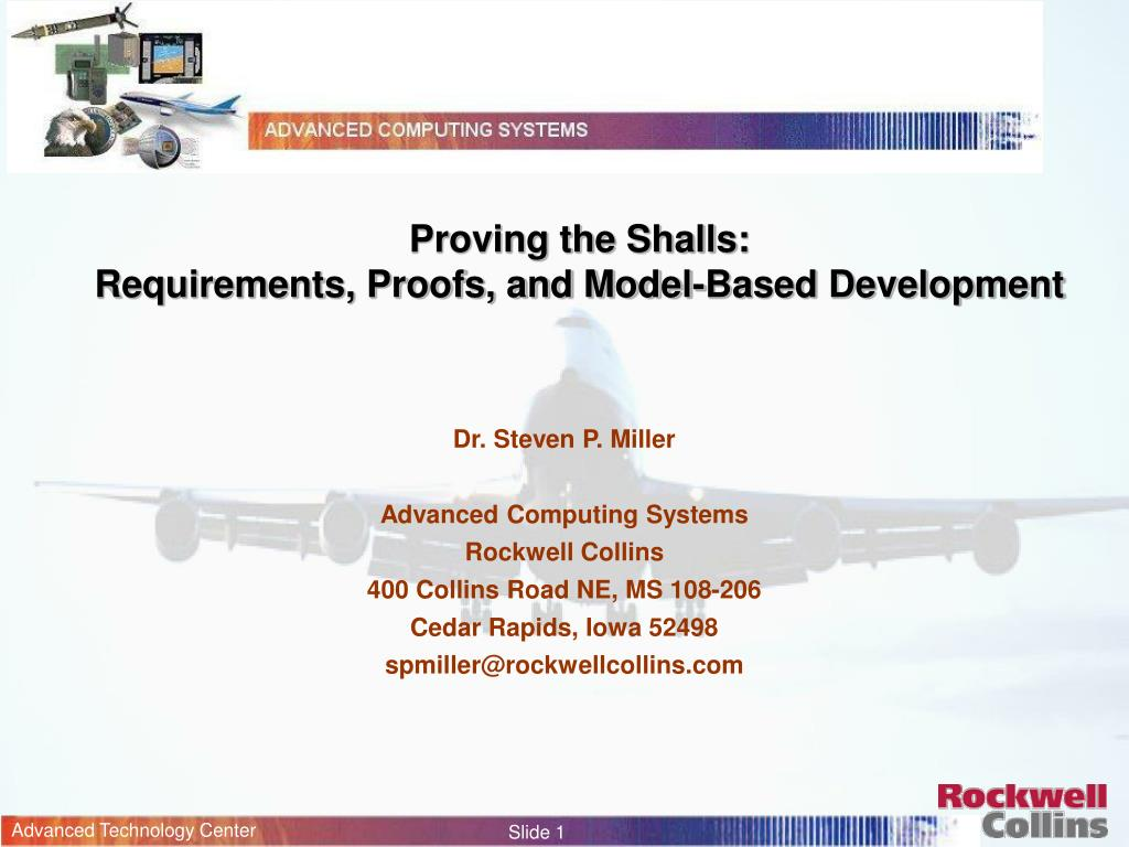 proving the shalls requirements proofs and model based development l.