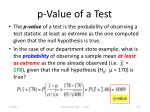p value of a test