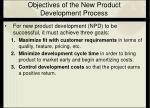 objectives of the new product development process