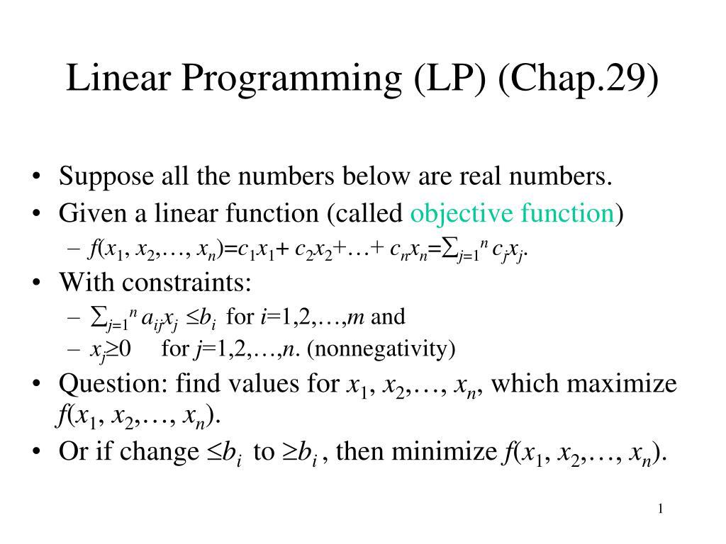 linear programming lp chap 29 l.