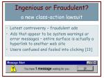ingenious or fraudulent a new class action lawsuit