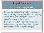 rapid success record setting growth