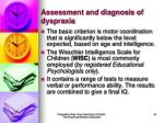assessment and diagnosis of dyspraxia