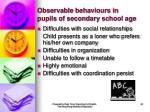 observable behaviours in pupils of secondary school age