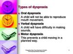 types of dyspraxia