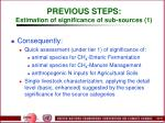 previous steps estimation of significance of sub sources 1