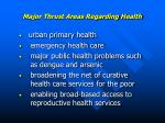 major thrust areas regarding health