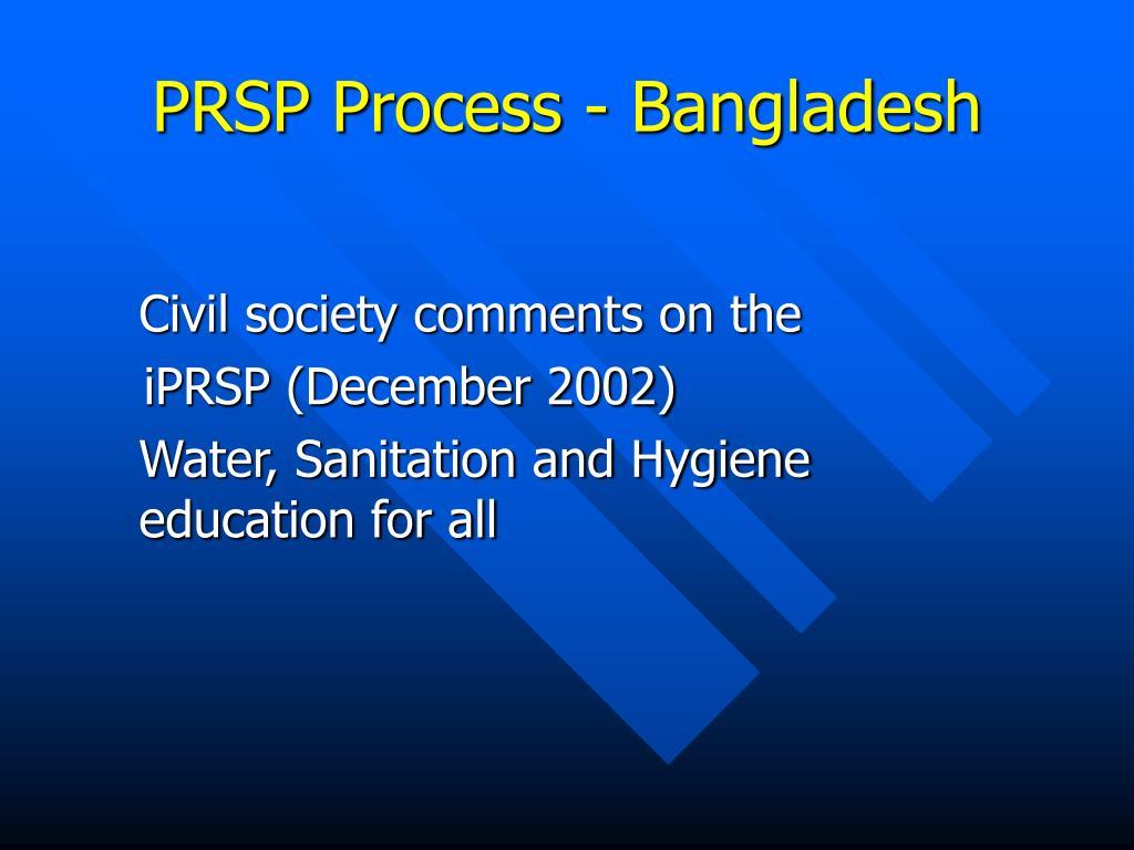 prsp process bangladesh l.