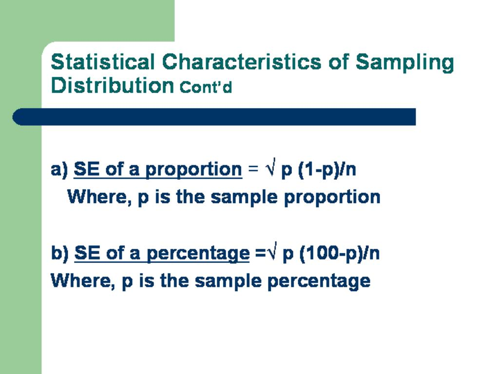 Statistical Characteristics of Sampling Distribution