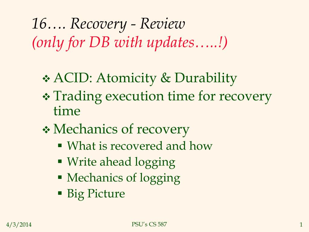 16 recovery review only for db with updates l.