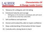 characteristics of a change leader cont
