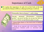 importance of cash