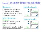 radar example improved schedule