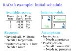 radar example initial schedule