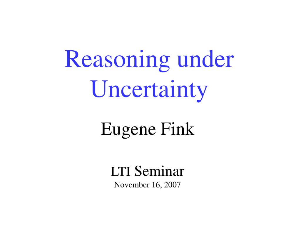 reasoning under uncertainty l.