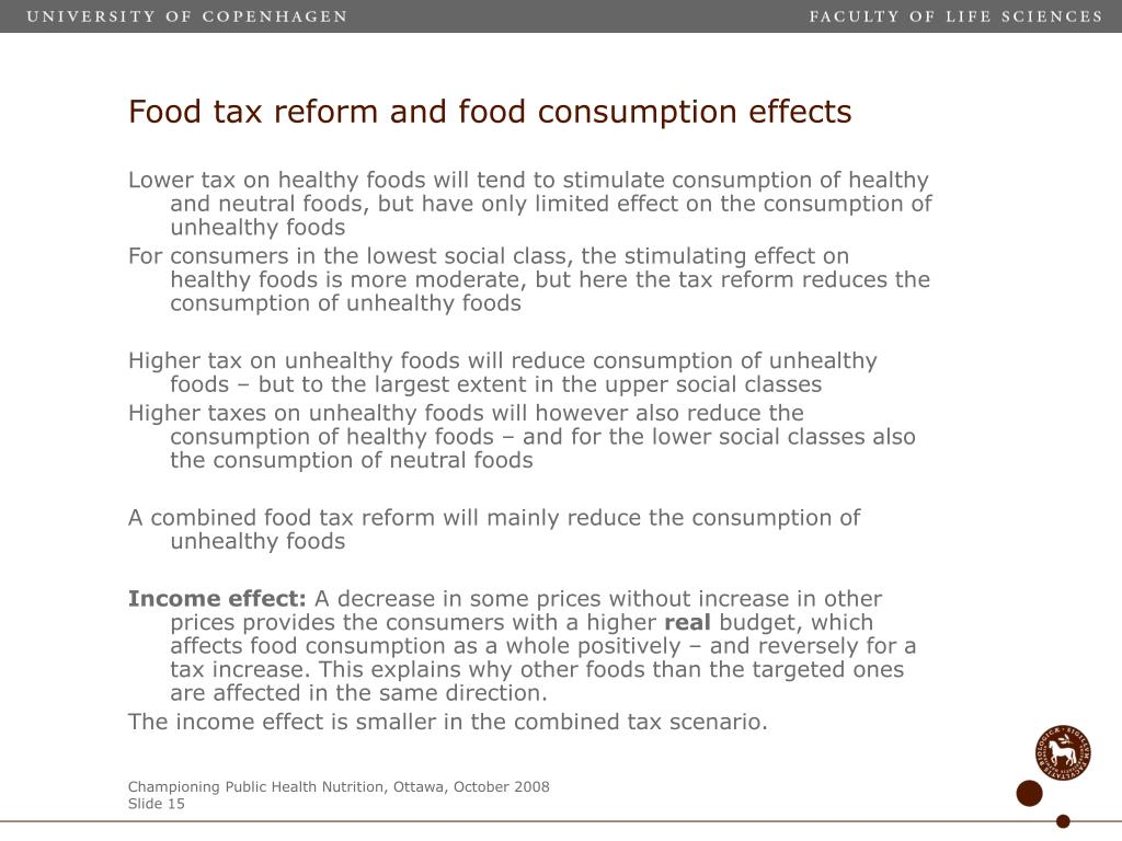 Food tax reform and food consumption effects