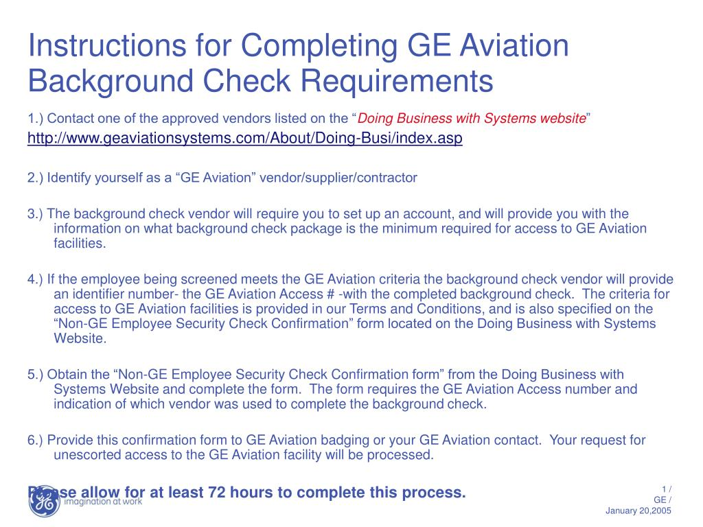 instructions for completing ge aviation background check requirements l.