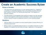 create an academic success bylaw11