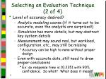 selecting an evaluation technique 2 of 4