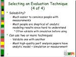 selecting an evaluation technique 4 of 4