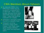cwa members mourn faheem
