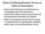 effect of misclassification errors on tests of association