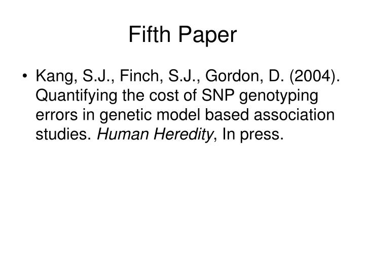Fifth Paper