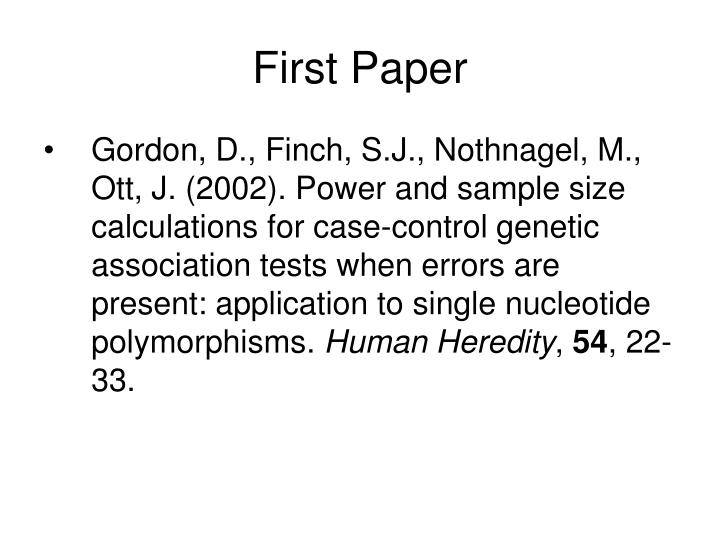 First Paper