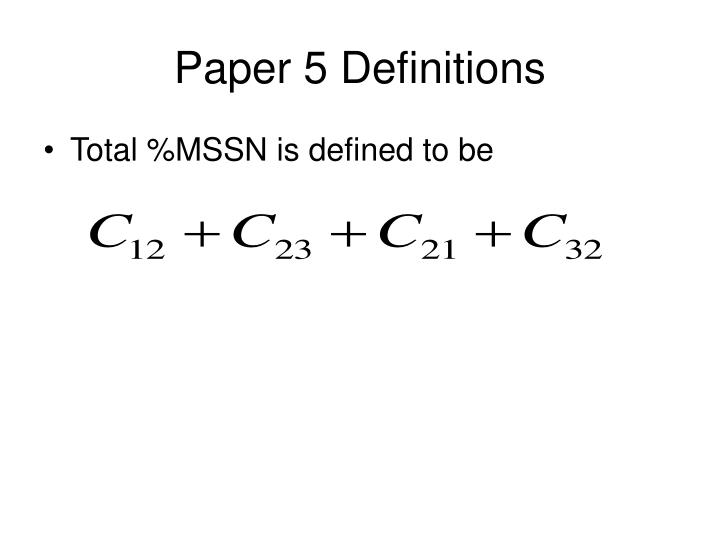 Paper 5 Definitions