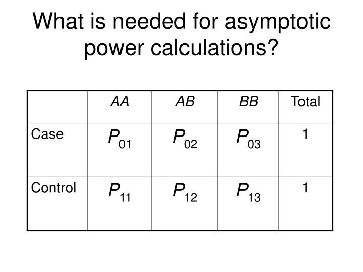 What is needed for asymptotic power calculations?