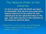 the natural order of the universe