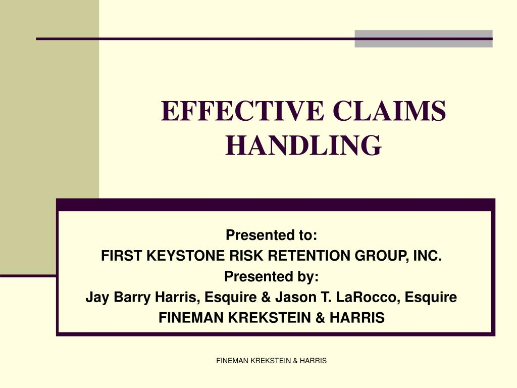effective claims handling l.