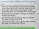 increasing column widths and entering rows titles11