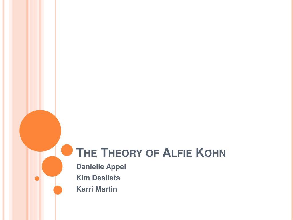 the theory of alfie kohn l.