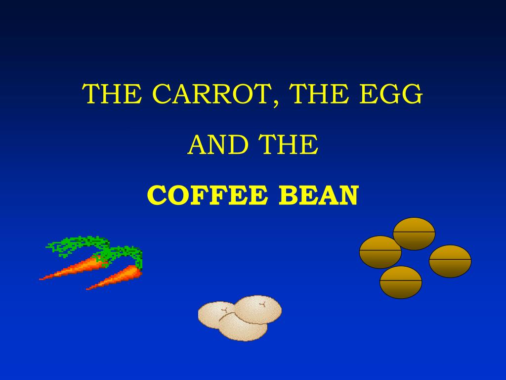 the carrot the egg and the coffee bean l.