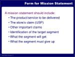 form for mission statement