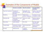 examples of the components of models