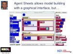 agent sheets allows model building with a graphical interface but