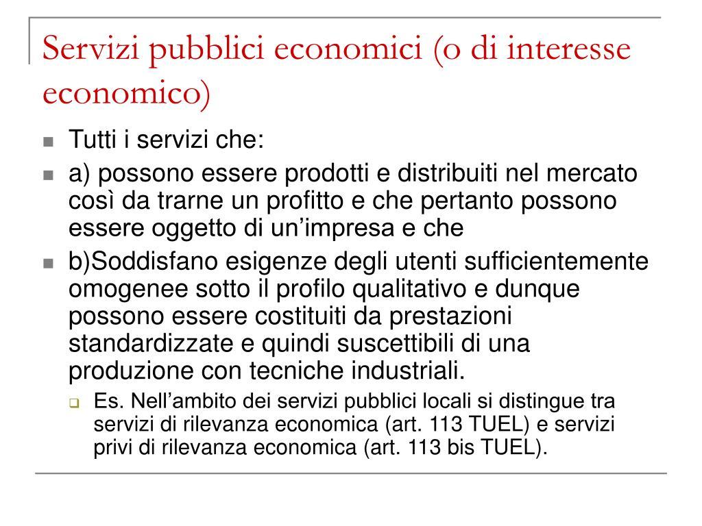 servizi pubblici economici o di interesse economico l.