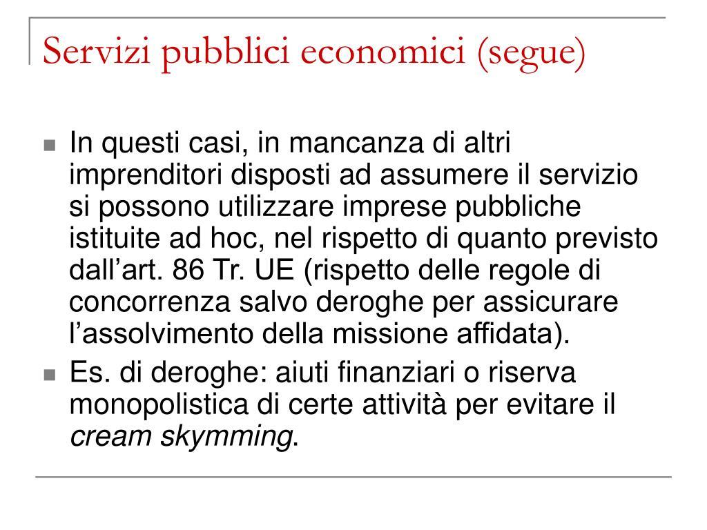Servizi pubblici economici (segue)
