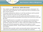 best practices in metrics management