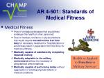 ar 4 501 standards of medical fitness