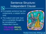 sentence structure independent clause