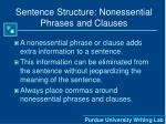 sentence structure nonessential phrases and clauses