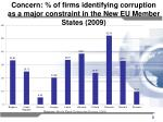 concern of firms identifying corruption as a major constraint in the new eu member states 2009