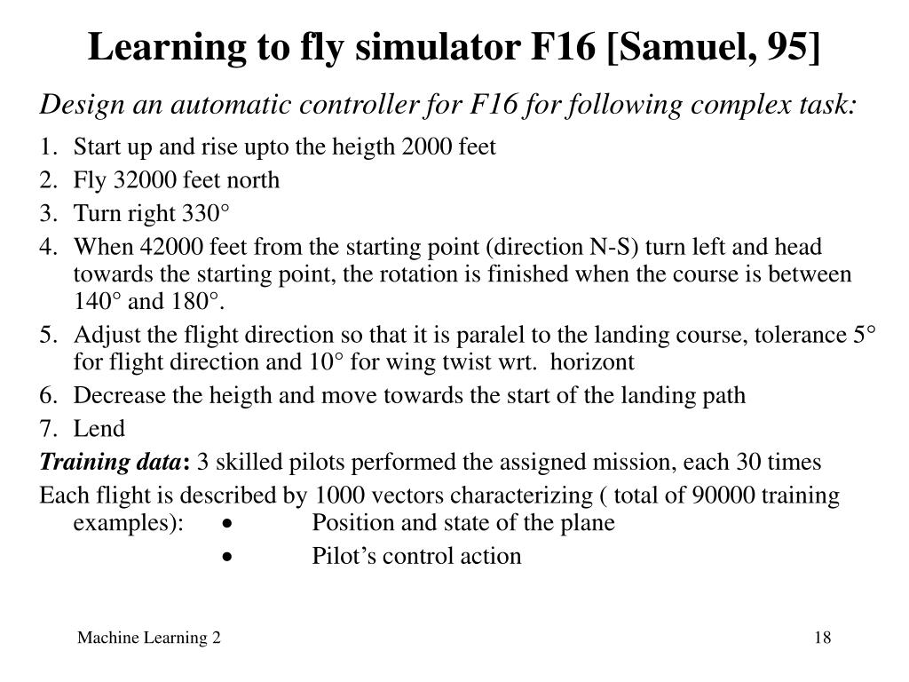 Learning to fly simulator F16