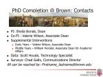 phd completion @ brown contacts