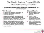 the plan for doctoral support pods a graduate school management initiative