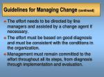 guidelines for managing change continued