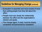 guidelines for managing change continued25